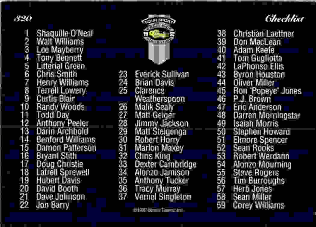 1992-93 Classic Four Sport Checklist #320 card back image