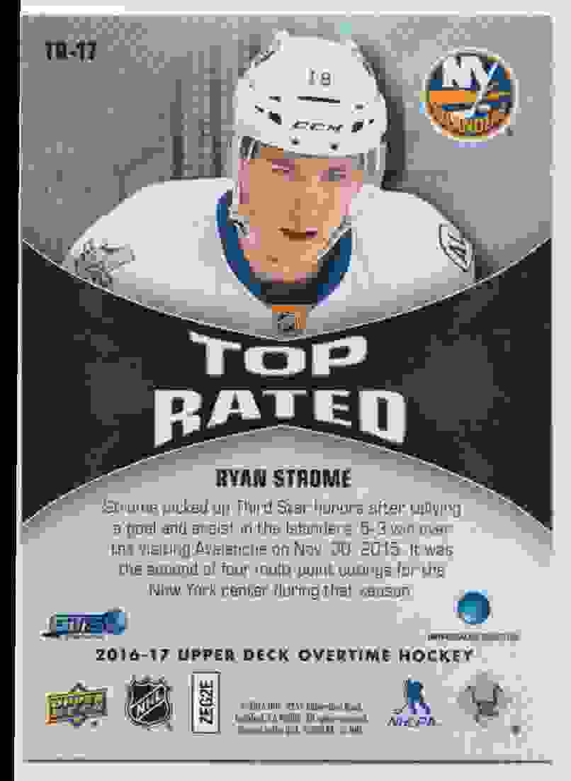 2016-17 Upper Deck Overtime Top Rated Ryan Strome #TR17 card back image