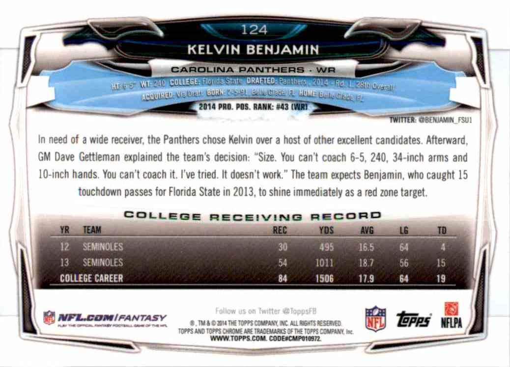2014 Topps Chrome Kelvin Benjamin RC #124 card back image