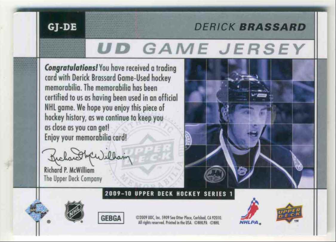 2009-10 Upper Deck Game Jersey Derick Brassard #GJ-DE card back image