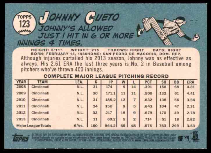 2014 Topps Heritage Johnny Cueto #123 card back image