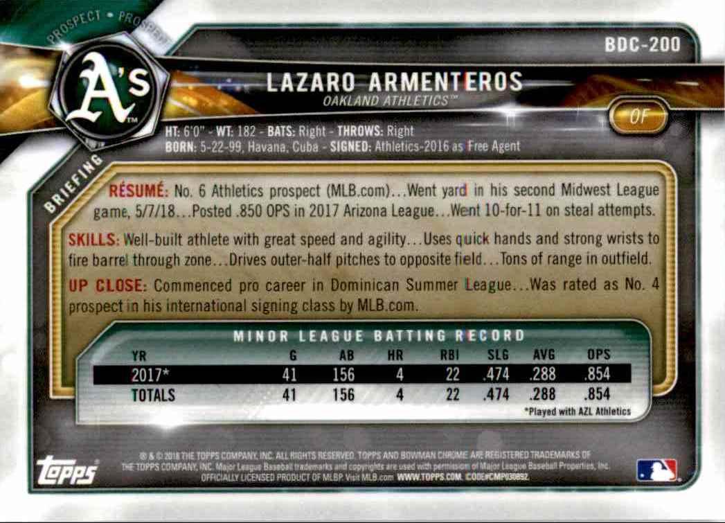 2018 Bowman Chrome Draft Green Refractors Lazaro Armenteros #BDC-200 card back image
