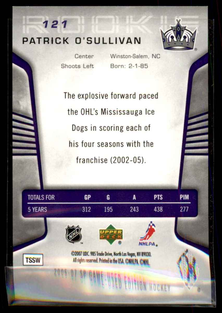 2006-07 SP Game Used Patrick O'Sullivan RC #121 card back image