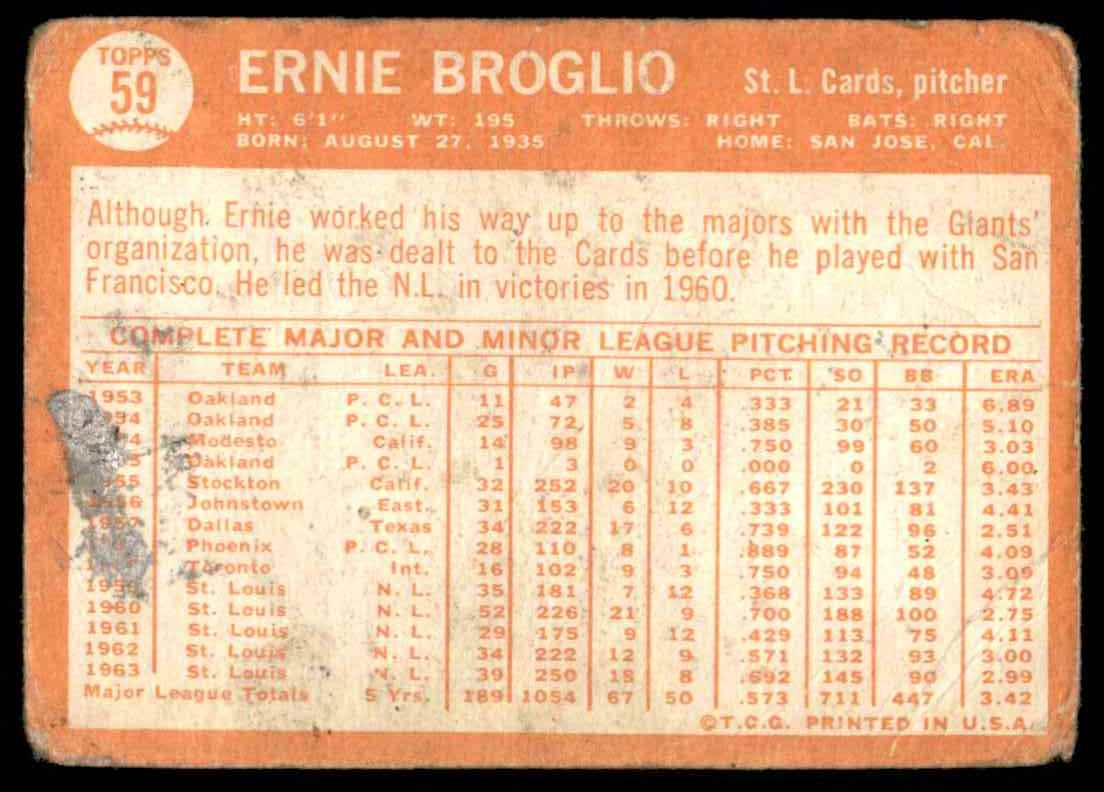 1964 Topps Ernie Broglio #59 card back image