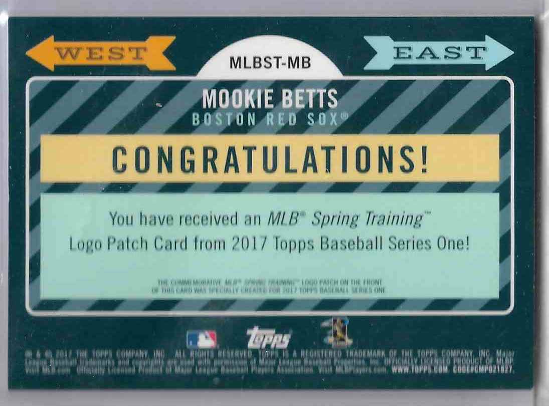 2017 Topps Mookie Betts #MLBST-MBMOOKIE BETTS card back image