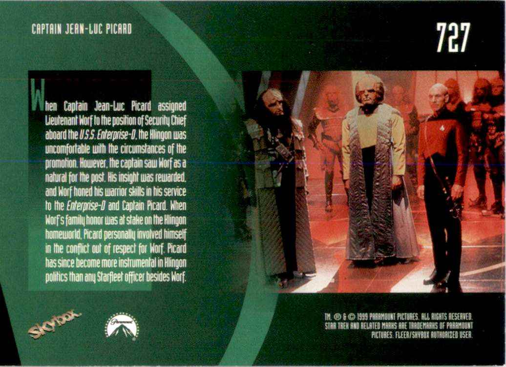 1994 Star Trek The Next Generation Episode Collection Lieutenant Worf #727 card back image