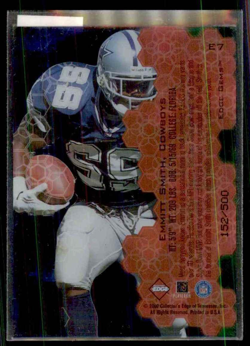 2000 Collector's Edge Eg Gems Emmitt Smith #E7 card back image