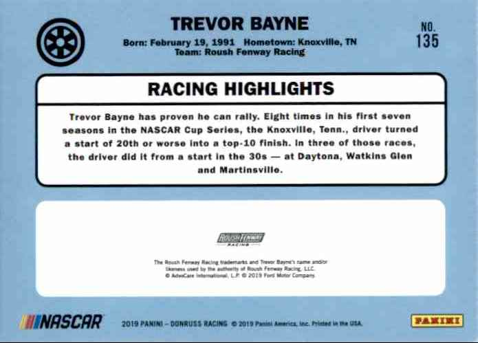 2019 Donruss Trevor Bayne #135 card back image