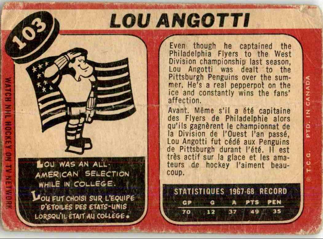 1968-69 O-Pee-Chee Lou Angotti #103 card back image