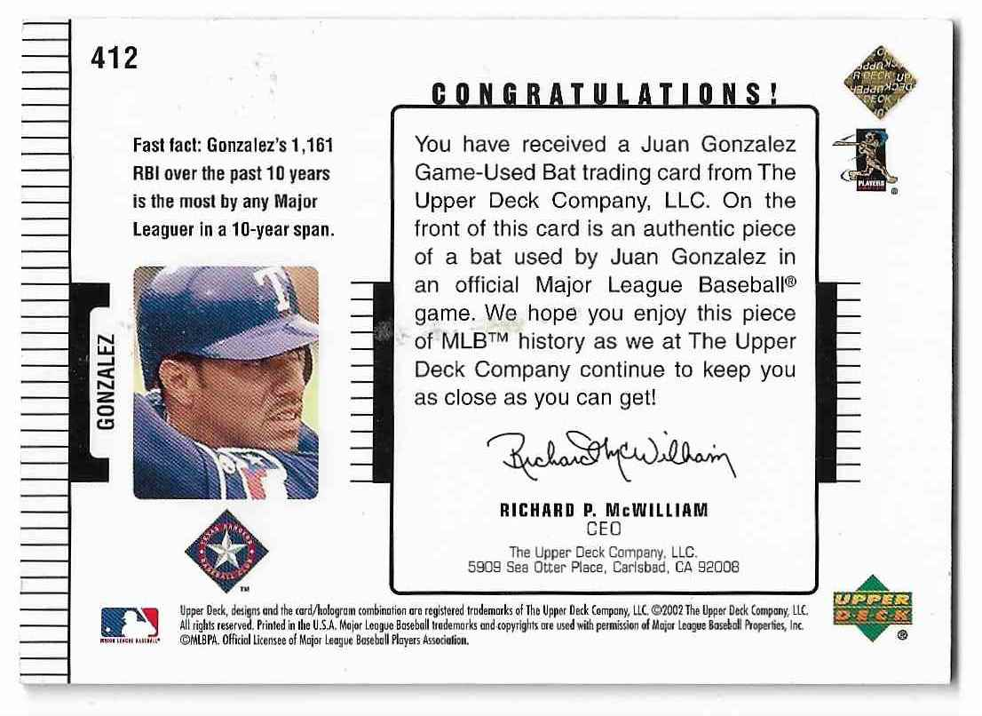 2002 Upper Deck Diamond Connection Juan Gonzalez #412 card back image