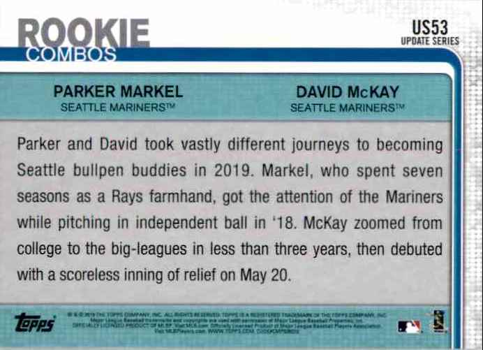 2019 Topps Update Parker Markel RC/David McKay RC #US53 card back image