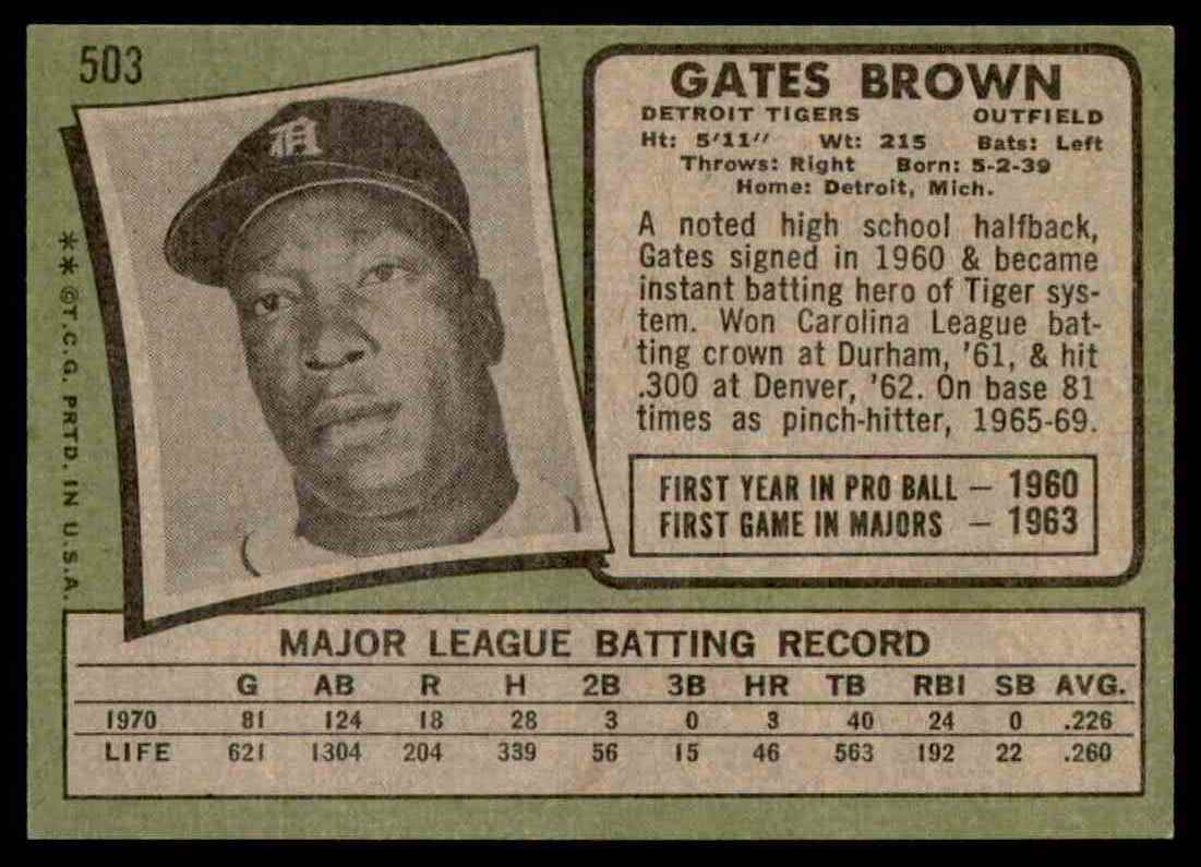 1971 Topps Gates Brown #503 card back image