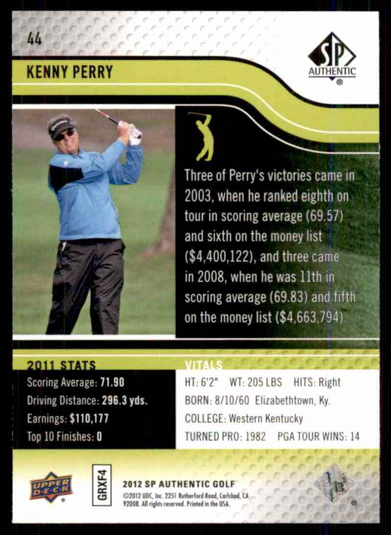 2012 SP Authentic Kenny Perry #44 card back image