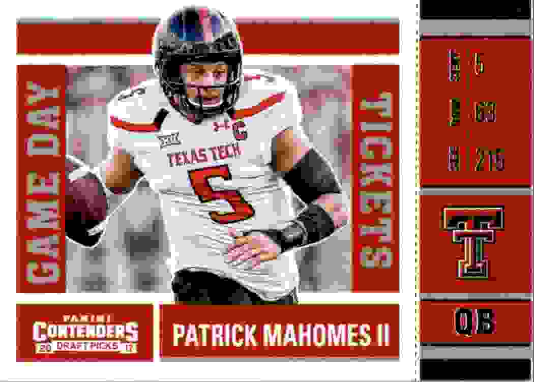 2017 Panini Contenders Draft Picks Game Day Tickets Patrick Mahomes #15 card front image