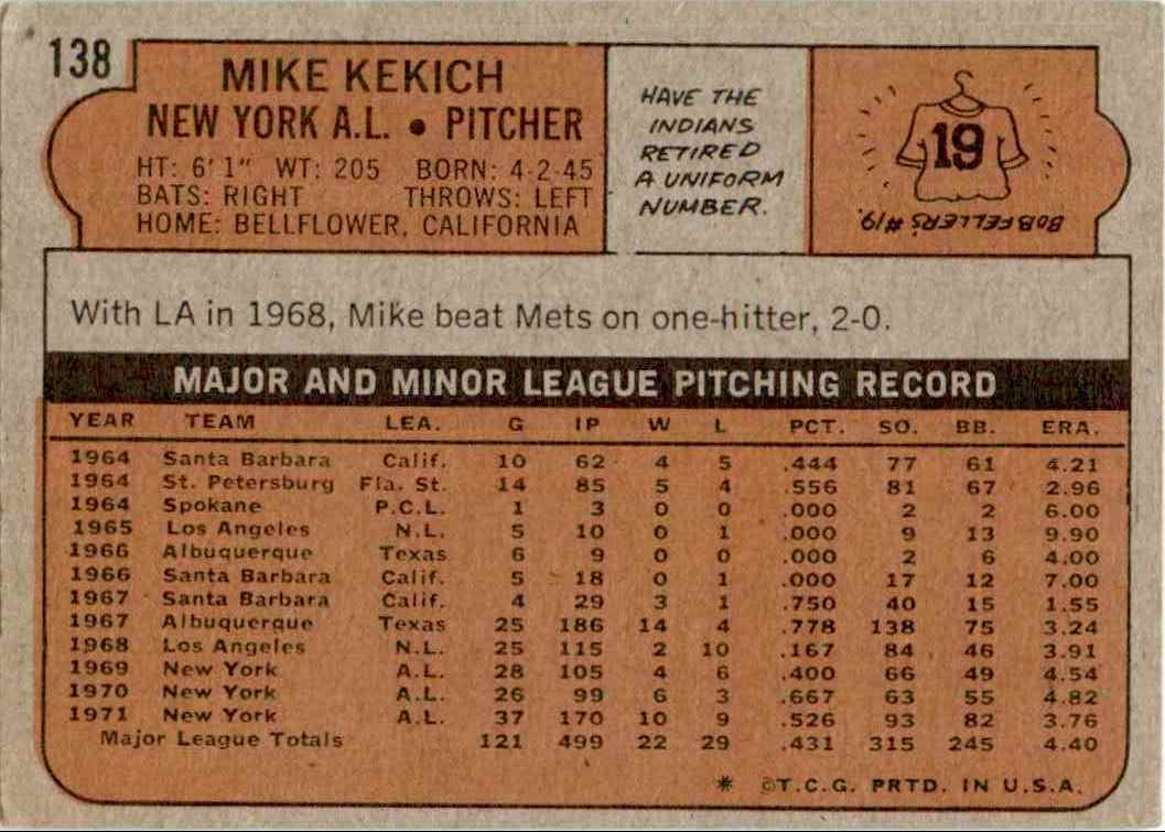 1971 Topps Mike Kekich #138 card back image