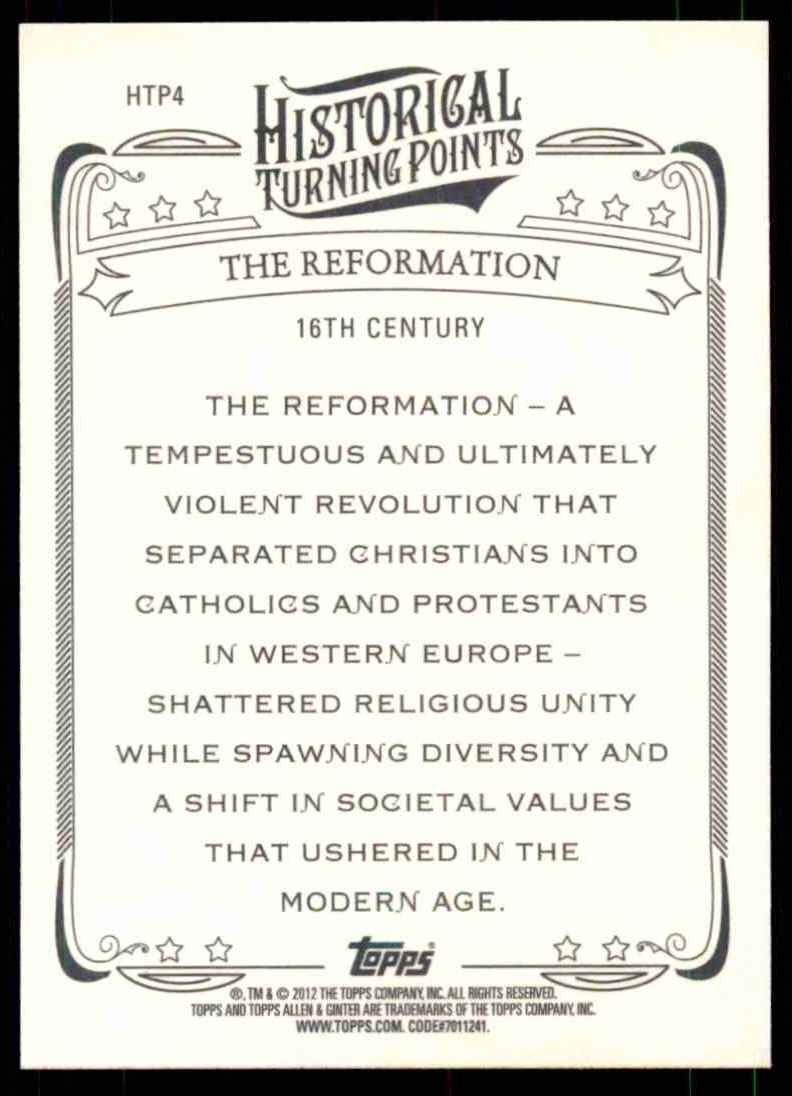 2012 Topps Allen And Ginter Historical Turning Points The Reformation #HTP4 card back image