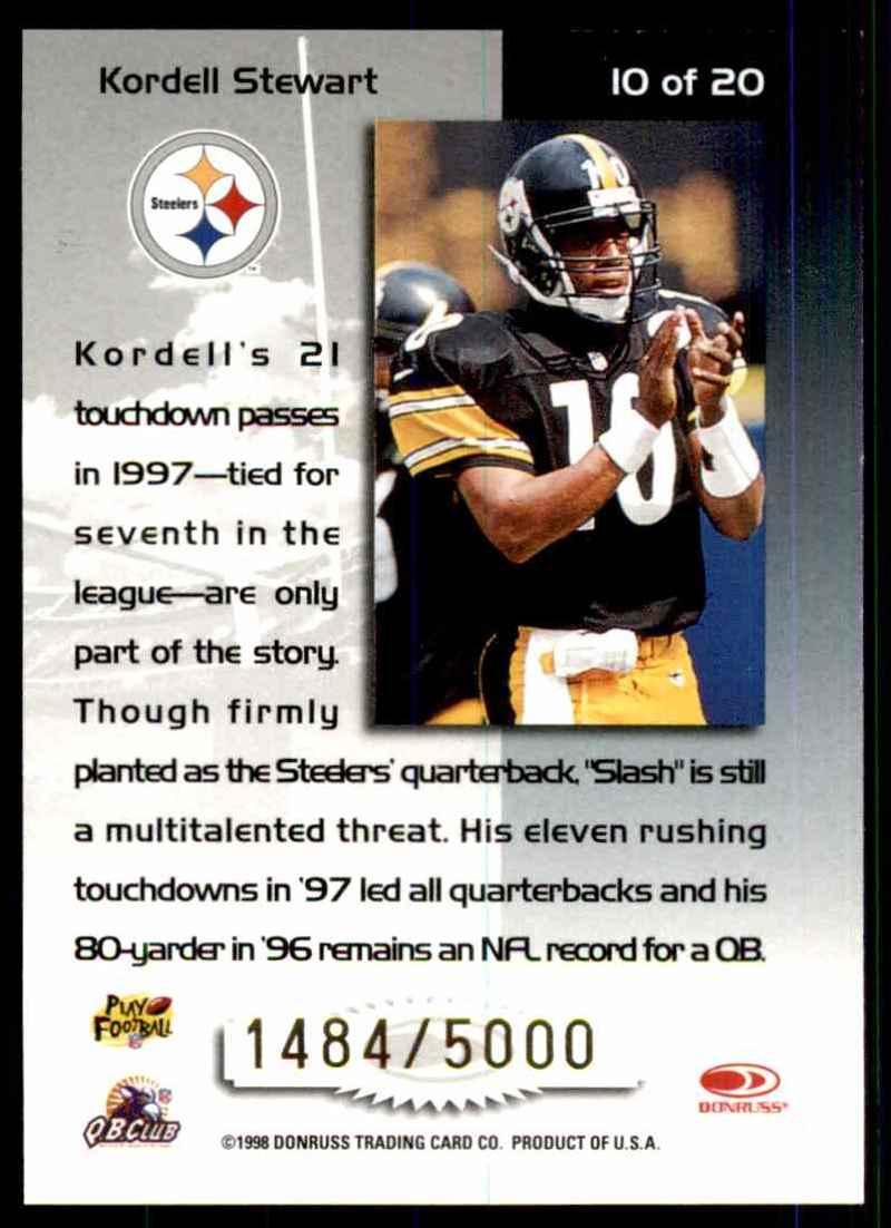 1998 Leaf Rookies & Stars Touchdown Club Kordell Stewart #10 card back image