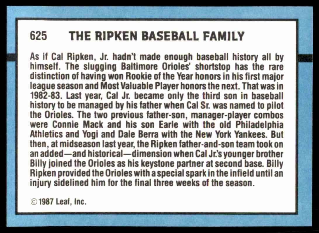 1988 Donruss Billy Ripken Cal Ripken Sr Cal Ripken Jr
