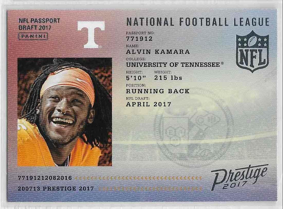2017 Prestige Alvin Kamara #11 card front image