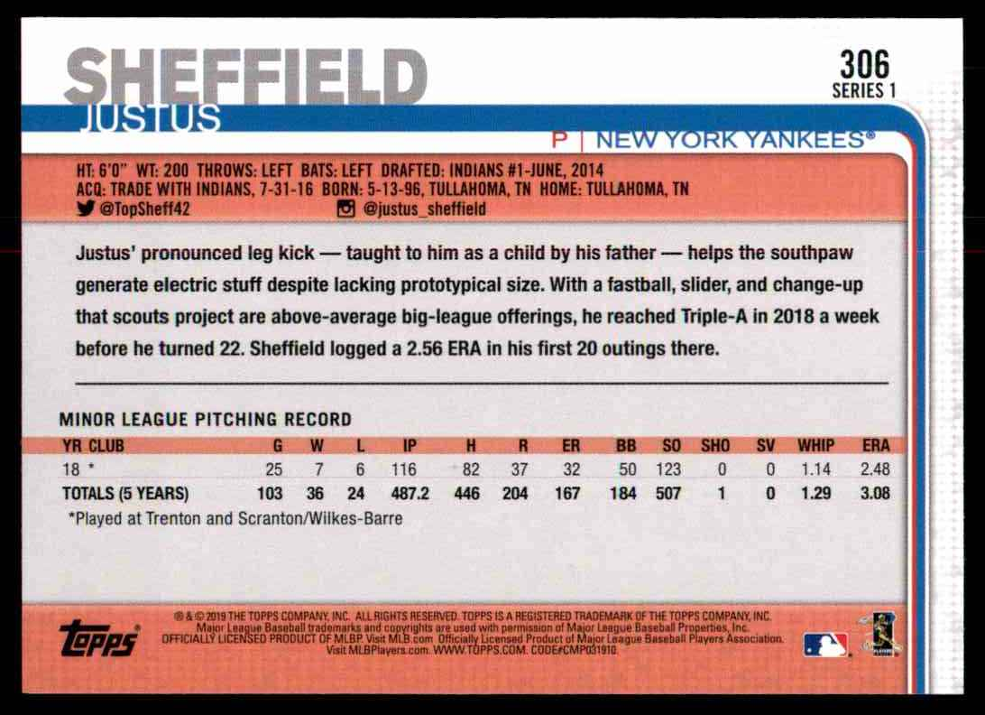 2019 Topps Justus Sheffield #306 card back image