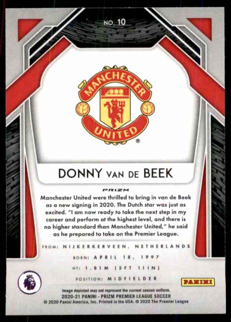 2020 Panini Prizm English Premier League Prizms Red Ice Donny Van De Beek #10 card back image