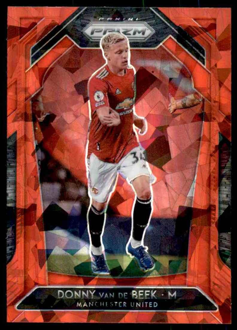 2020 Panini Prizm English Premier League Prizms Red Ice Donny Van De Beek #10 card front image