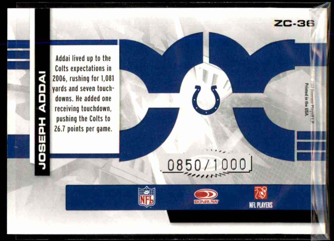 2007 Donruss Elite Zoning Commission Gold Joseph Addai #36 card back image