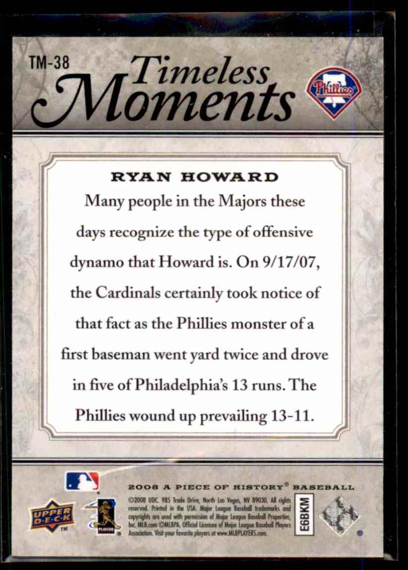 2008 Upper Deck A Piece Of History Timeless Moments Ryan Howard #38 card back image