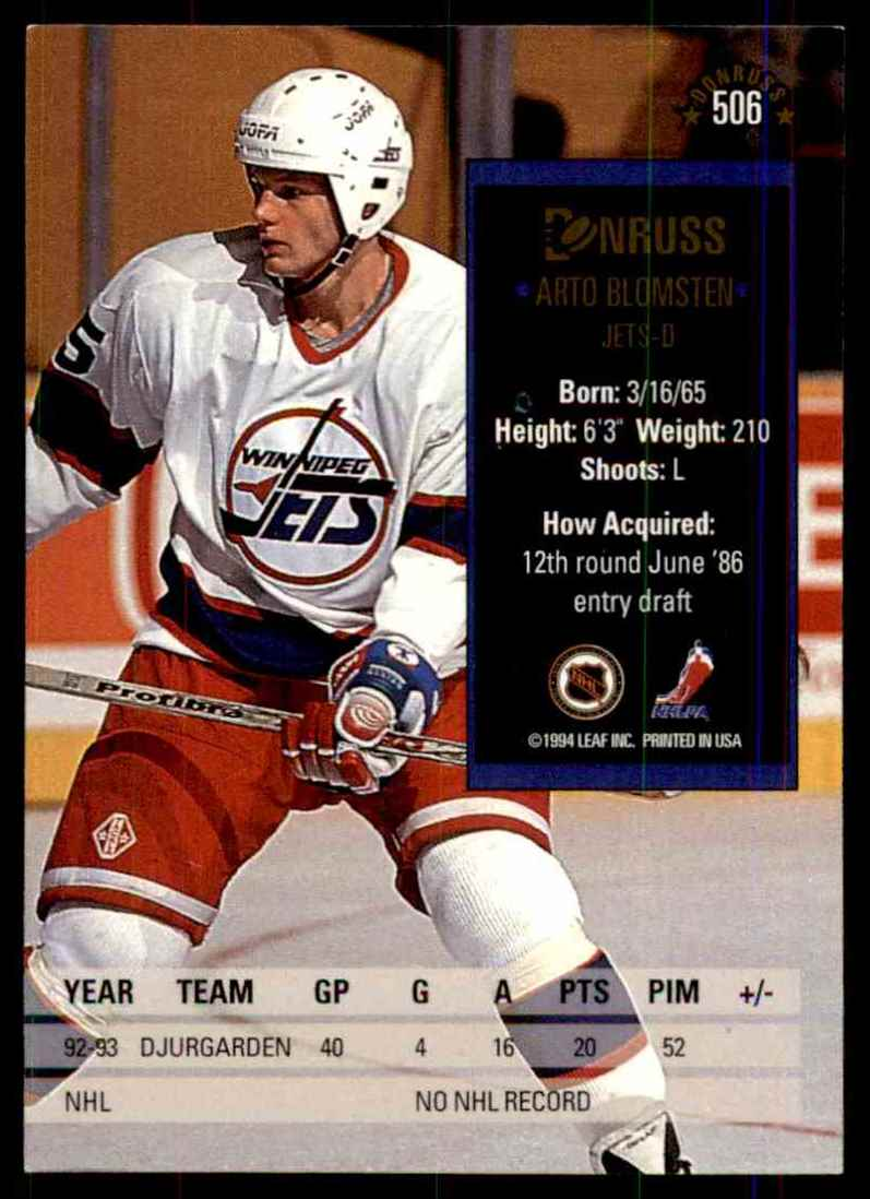 1993-94 Donruss Arto Blomsten #506 card back image
