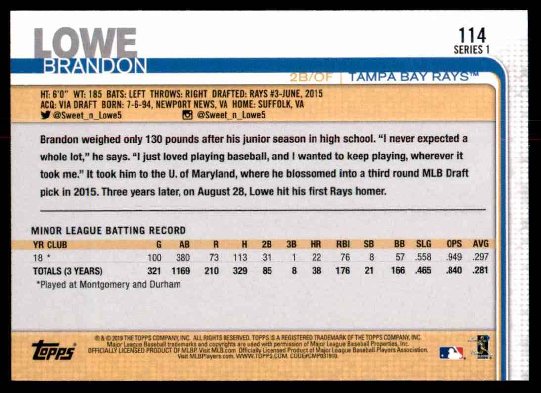 2019 Topps Brandon Lowe #114 card back image