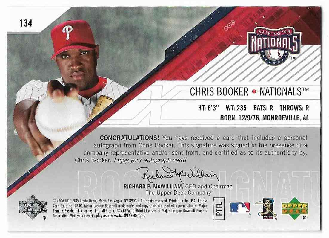 2006 SPx Chris Booker #134 card back image