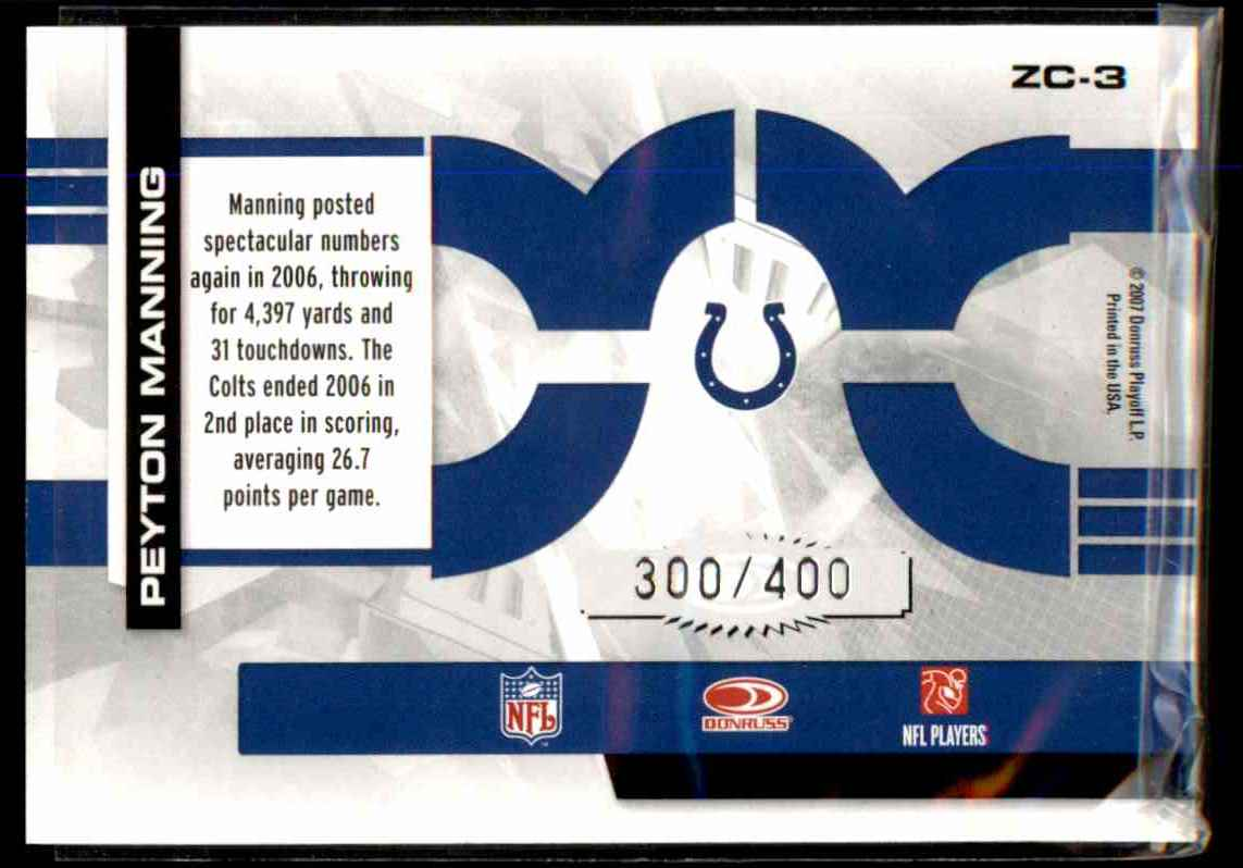 2007 Donruss Elite Zoning Commission Black Peyton Manning #3 card back image