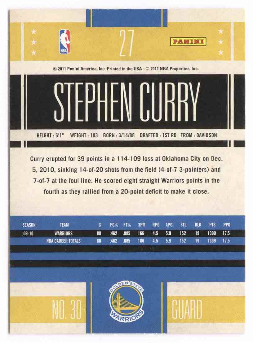 2010-11 Classics Stephen Curry #27 card back image