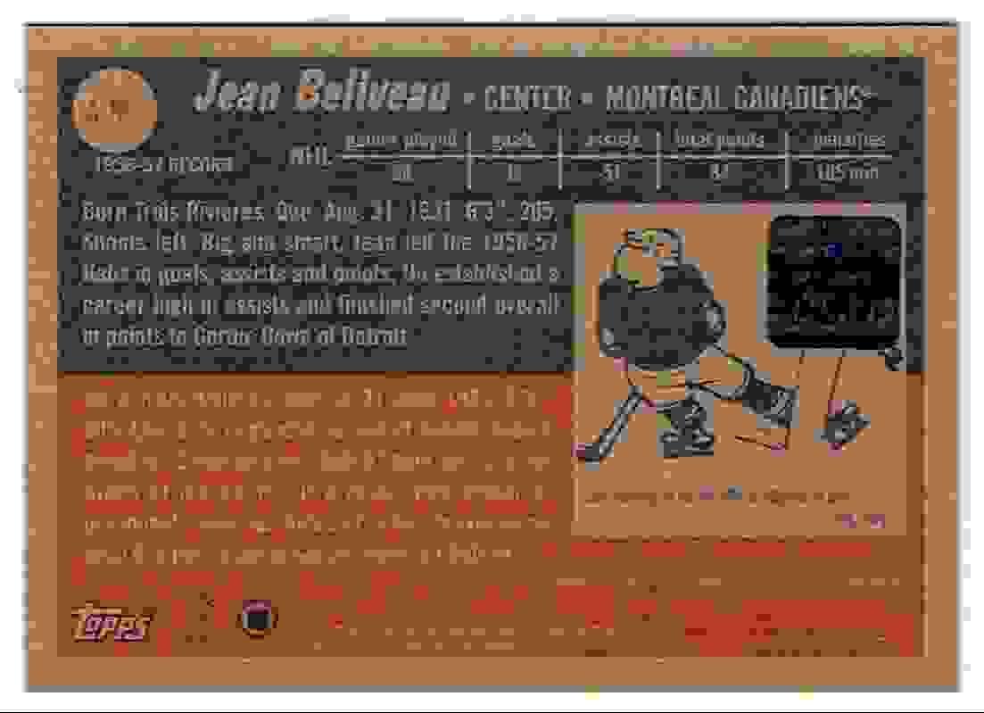 2001-02 Topps Heritage Jean Beliveau #A-JBE card back image