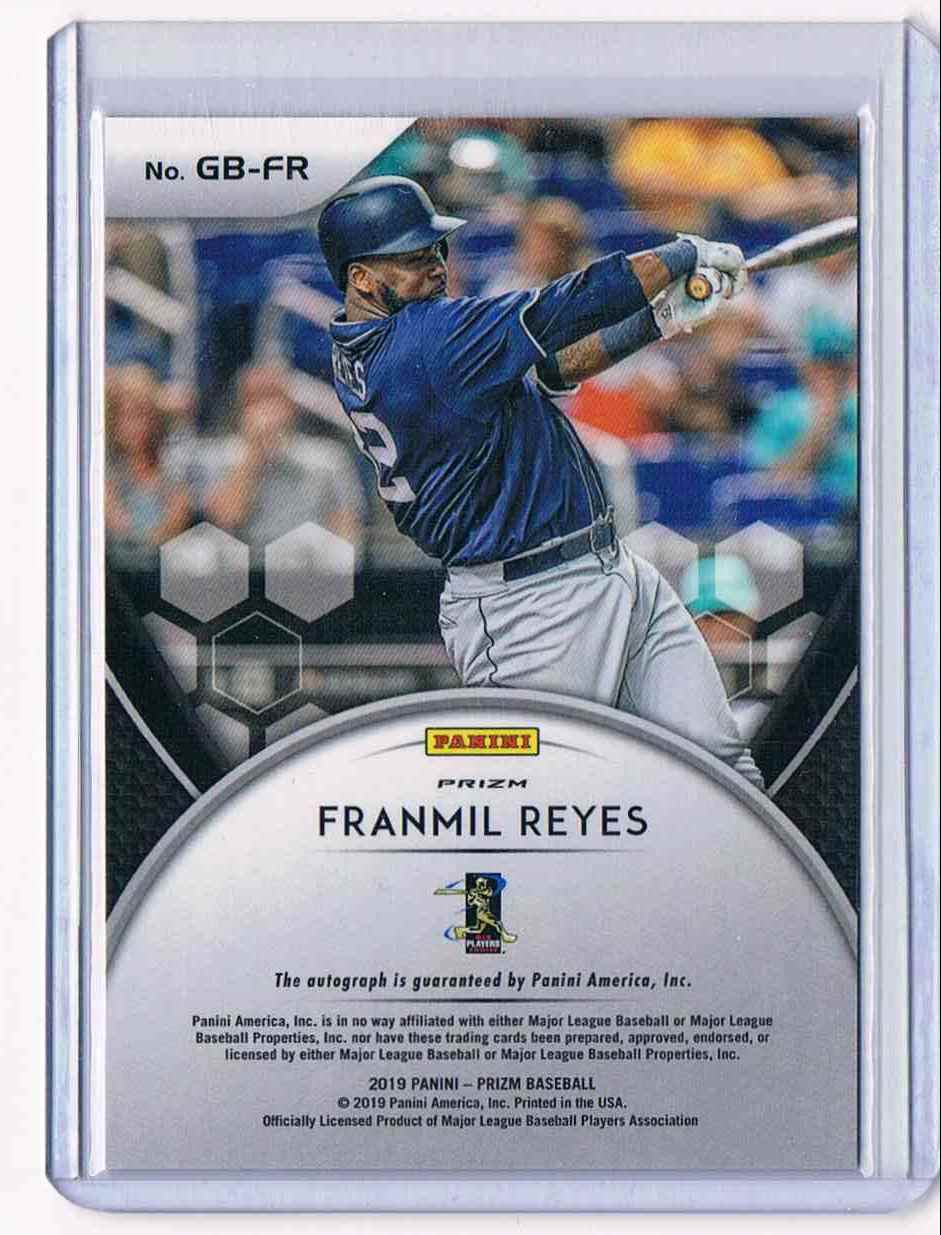 2019 Panini Prizm Franmil Reyes card back image