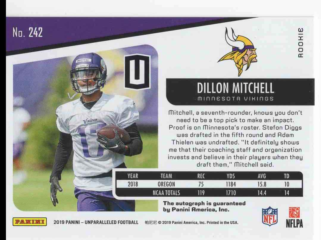 2019 Panini Unparalleled Dillon Mitchell #242 card back image