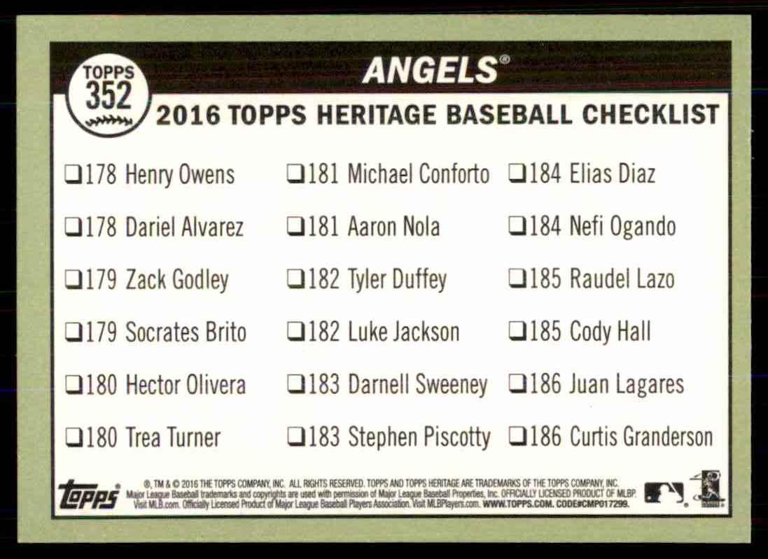2016 Topps Heritage Baseball Los Angeles Angels #352 on Kronozio