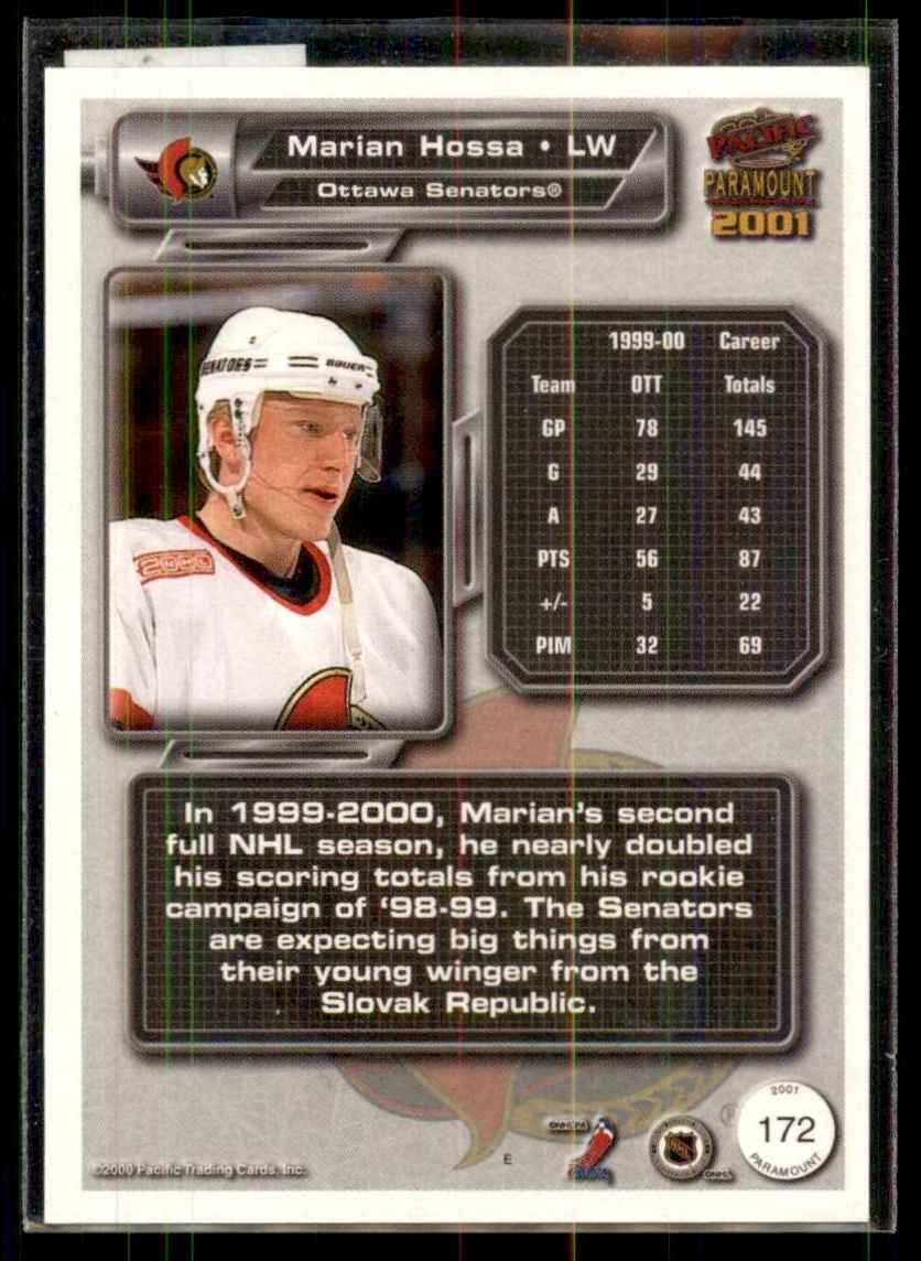 2000-01 Pacific Paramount Copper Marian Hossa #172 card back image