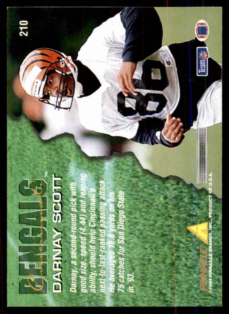 1994 Pinnacle Darnay Scott RC #210 card back image