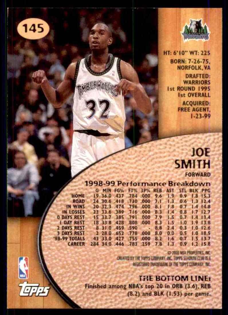 1999-00 Stadium Club Joe Smith #145 card back image