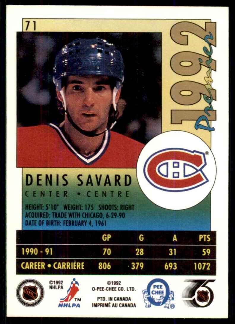 1991-92 OPC Premier Denis Savard #71 card back image