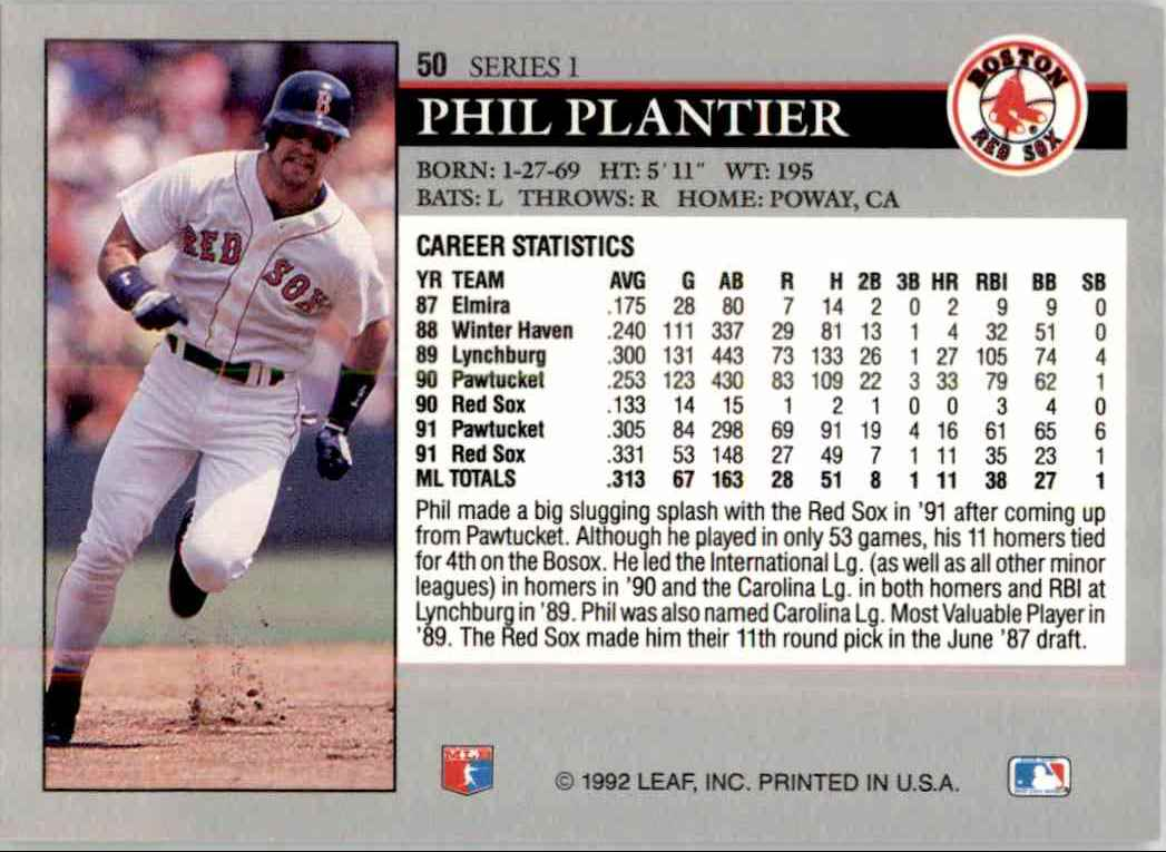 1992 Leaf Series 1 You Tube 15 Phil Plantier 50 On Kronozio