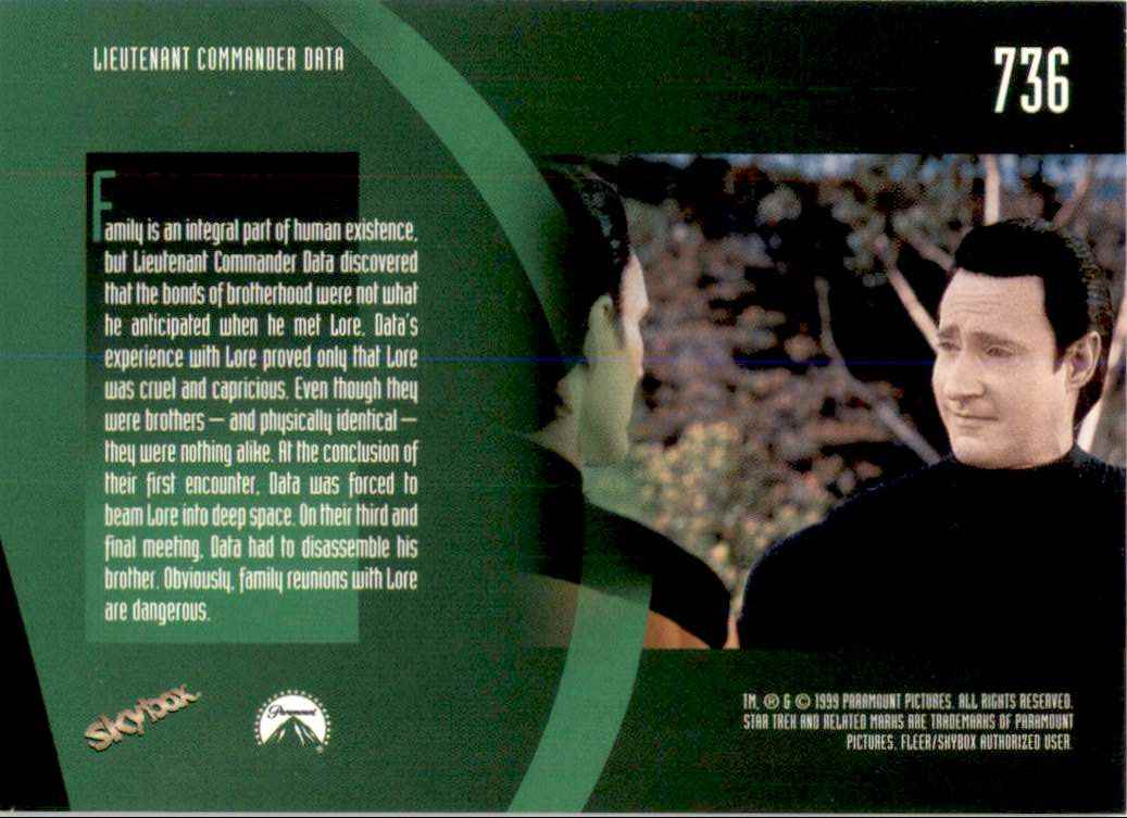 1994 Star Trek The Next Generation Episode Collection Lore #736 card back image