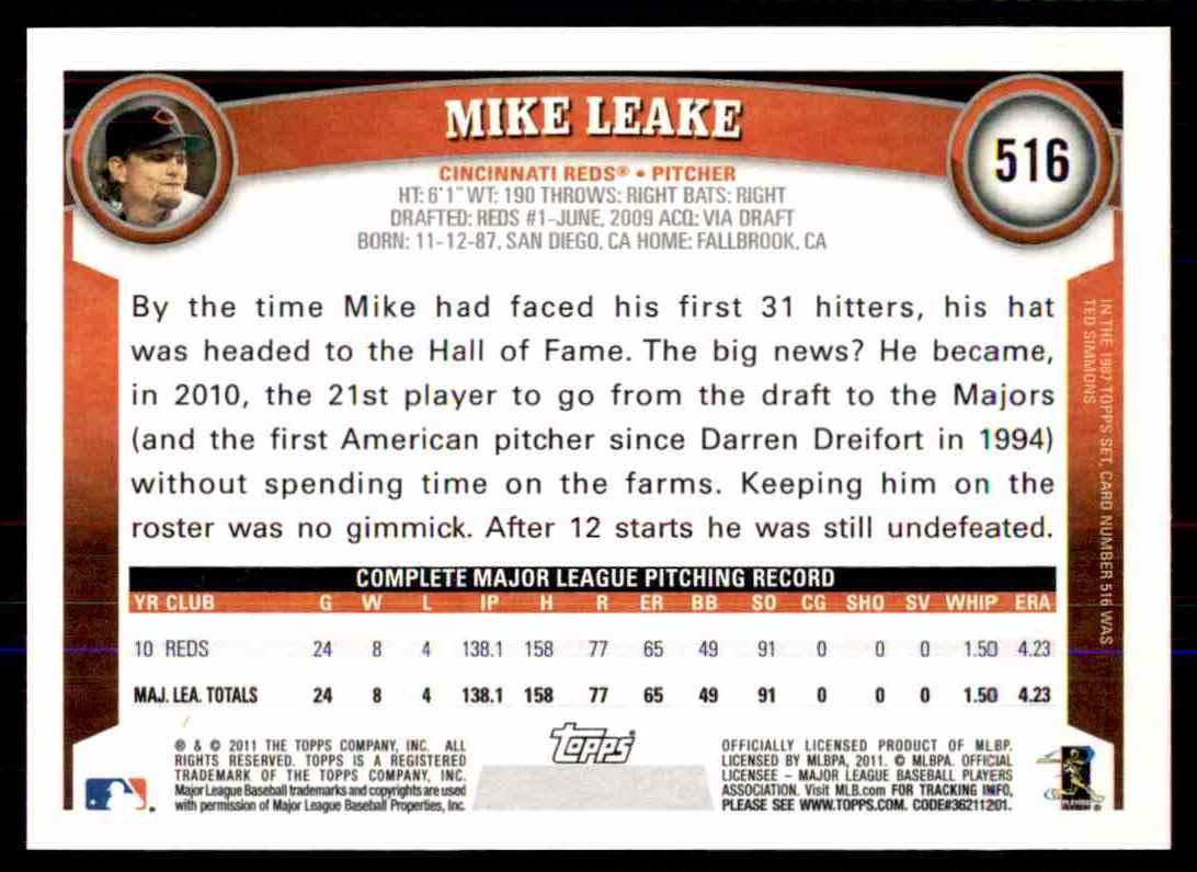 2011 Topps Mike Leake #516 card back image
