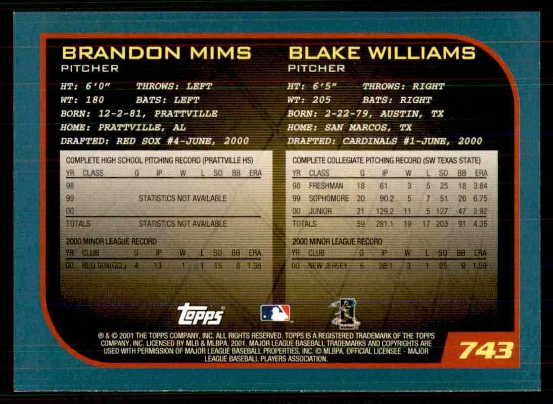 2001 Topps Brandon Mims / Blake Williams #743 card back image