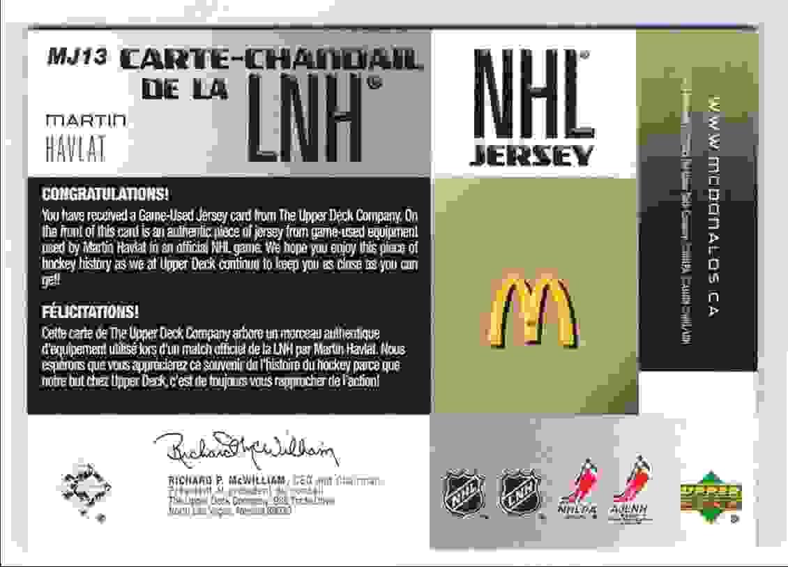 2005-06 Upper Deck McDonald's NHL Jersey Martin Havlat #MJ13 card back image