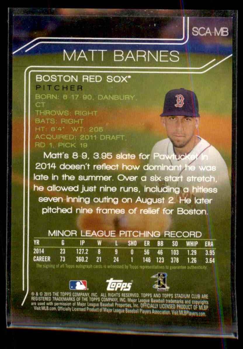 2015 Stadium Club Autographs Matt Barnes #SCAMB card back image