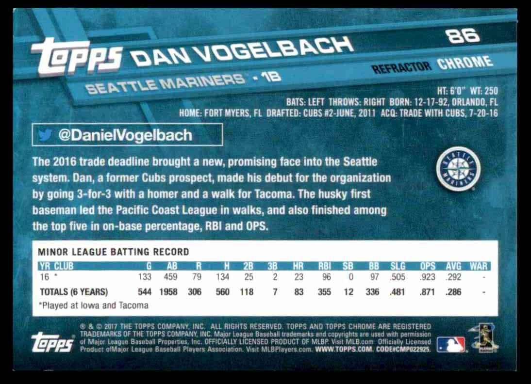 2017 Topps Chrome Xfractor Dan Vogelbach #86 card back image