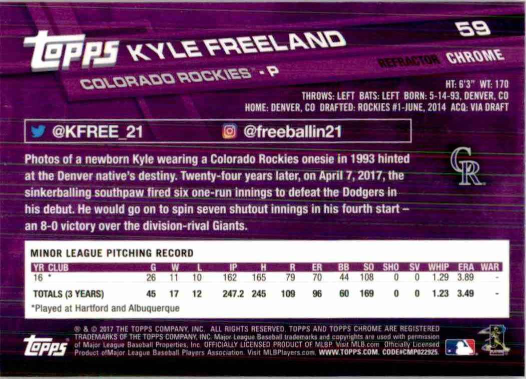 2017 Topps Chrome Pink Refractor Kyle Freeland #59 card back image