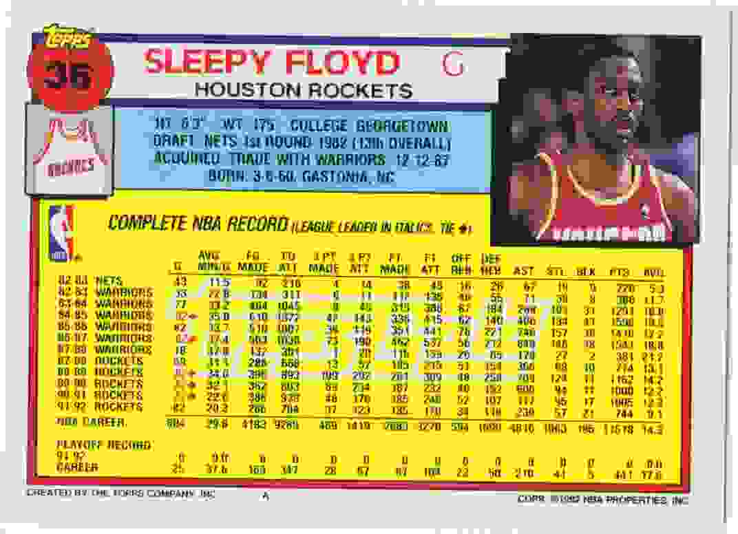 1992 93 Topps Base Gold Sleepy Floyd 36 on Kronozio